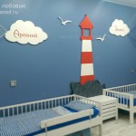 Деревянный декор для детской, деревянный маяк, облака и чайки от Feeling Wood